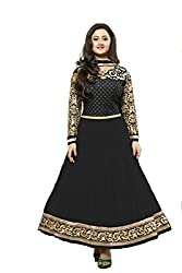 Shree Hans Creation Black Georgette Anarkali Dress Material