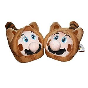 L Super Mario Bros Tanooki Raccoon Mario Plush Household Slippers Cosplay Shoes