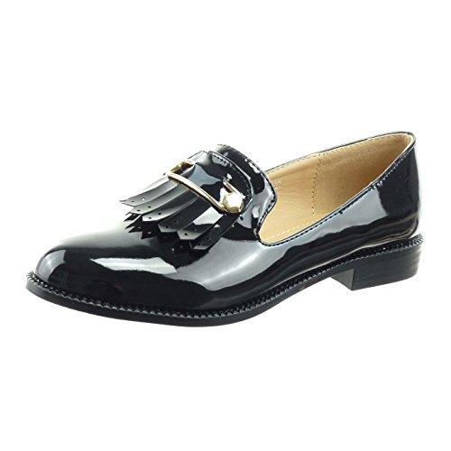 Sopily - Scarpe da Moda Mocassini alla caviglia donna frange lucide verniciato Tacco a blocco 2 CM - Nero CMD-2-F-129 T 39
