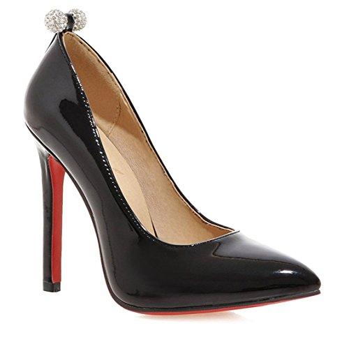 ye frauen rote unterseite spitze zehe stilett slip on high heels b roarbeit pu leder stilettos. Black Bedroom Furniture Sets. Home Design Ideas