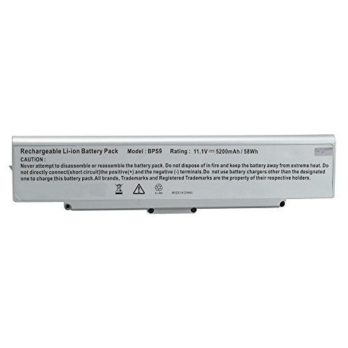 Click to buy NEW 11.1V 5200Mah Li-ION Notebook/Laptop Battery for Sony VAIO VGN-AR71L VGN-CR190N VGN-CR490EBW VGN-NR185E VGN-SZ56 VGP-BPL9/S Silver - From only $59.99
