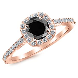 1.85 Carat 14K Rose Gold Gorgeous Classic Cushion Halo Style Diamond Engagement Ring 14K Rose Gold with a 1.5 Carat Round Cut AAA Quality Black Diamond (Heirloom Quality)