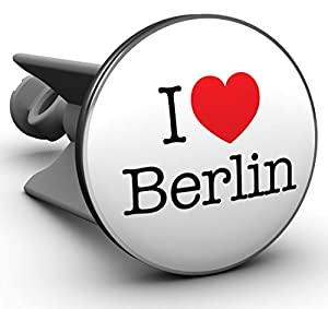 Plopp Waschbeckenstöpsel I love Berlin, Stöpsel, Excenter Stopfen, für Waschbecken, Waschtisch, Abfluss