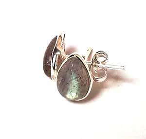 Shanya Sterling Silver Stud Earrings Labradorite Pear Cabochon 6X9 mm
