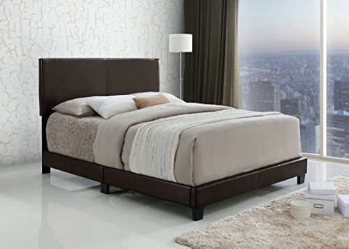 Review Dark Brown Bonded Leather Queen Size Upholstered Headboard Footboard