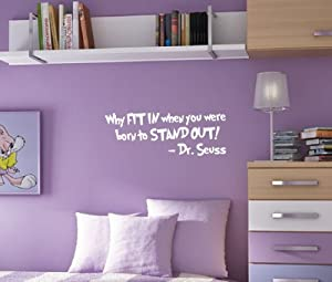 Innovative Stencils 1167 28 mblack Why Fit In When You Were Born To Stand Out Dr. Seuss Wall Kids Room Decal, 28-Inch x 10.5-Inch