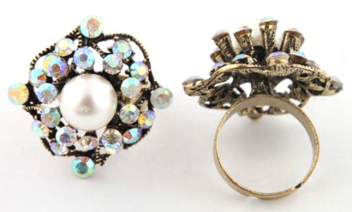 Ladies Stylish Gold Antique Style Centered White Pearl with Surrounding Clear AB Stones Metal Adjustable Finger Ring