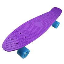 "Plastic Cruiser Skateboard Complete Penny Size 22"" Stereo-Sonic Tail Purple/Light Blue"