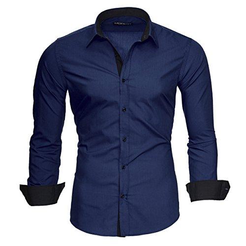 Merish Hemd Herren Langarmhemd Kontrast Business Casual Kontrastfarben Modell 203 DunkelblauM