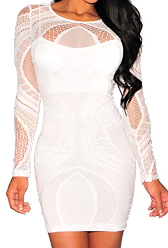 Zkess Women's Sleeveless / Long Sleeve Lace Party Bodycon Dress (Medium, White)