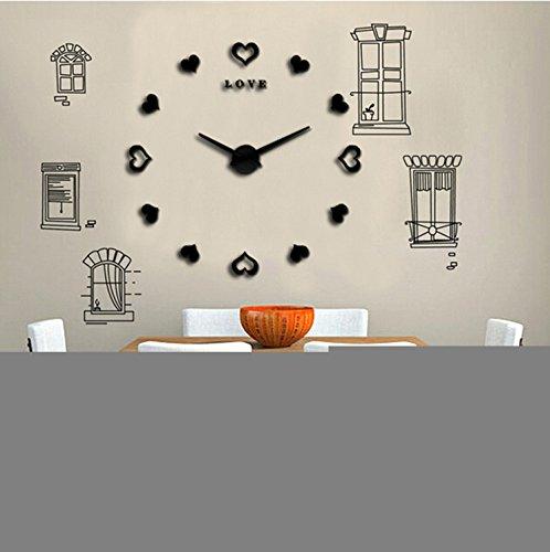huijun-3d-stereo-diy-love-digital-wall-clock-creative-wall-clock-time-clock-diy-black