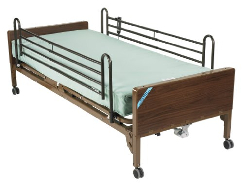 Drive Medical Semi Electric Ultra Light Plus Hospital Bed, Brown, 36""