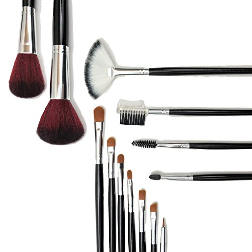 Full Face Eye Lip Brows 13 Piece Essential Cosmetics Makeup Gift Brush Set and Organizer Storage Case inc. Taklon Blending, Concealer Blush Brush, Eye Smudge Brush, Lip Detail, Mascara Brow Brush Comb (Sigma Detail Brush compare prices)