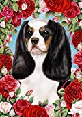 Cavalier King Charles Spaniel Tri by Tamara Burnett Valentine Roses Garden Dog Breed Flag 12'' x 17