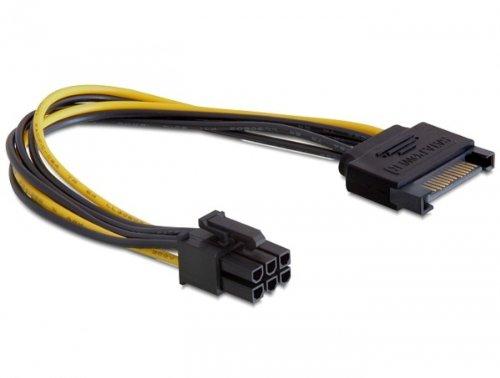 delock-power-sata-15-pin-6-pin-pci-e-sata-pci-e-nero-giallo