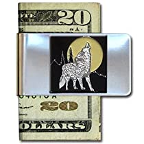 Large Money Clip - Howling Wolf