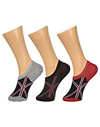 Gumber Pack of 3 Pairs of Multicoloured Printed No Show Socks(GE_LOAFER_FLAG_3PC_1)