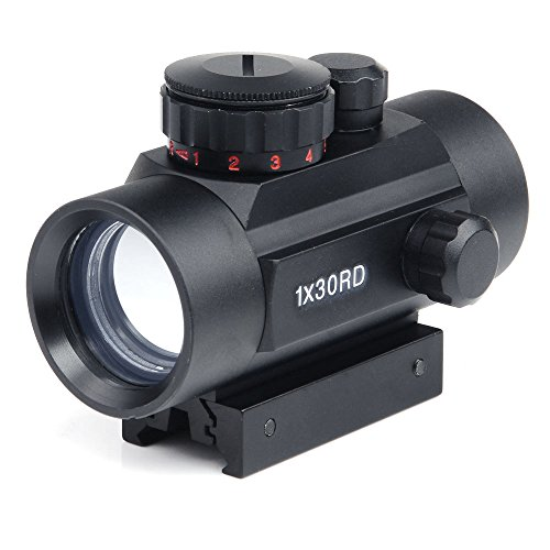 For Sale! Rifle scope 1x30mm Red Dot Sight with 22mm Weaver Picatinny Mount Five Brightness Settings...