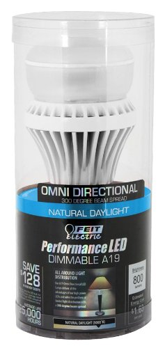 Feit A19/Om800/5K/Led Led A19 Omni 300-Degree 5000-Degree K Beam Spread