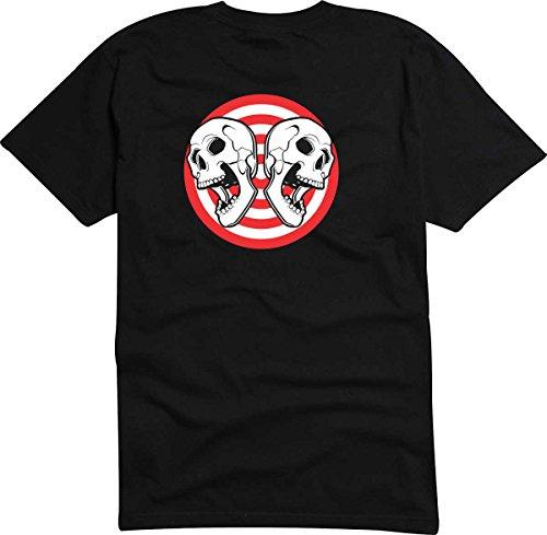 T-Shirt-Camiseta-D806-Hombre-negro-con-la-impresin-en-color-XL-diseo-Tribal-cmico-abstracto-grfico-crneo-calavera-reflejado-en-crculo