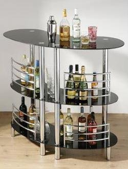BLACK GLASS  &  CHROME 3 TIER CURVED BAR TABLE UNIT