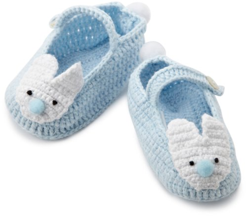 Mud Pie Baby-Boys Newborn Blue Crochet Bunny Booties, Blue, 0-6 Months front-545169