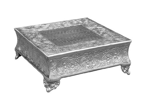 GiftBay Creations 751-20S Wedding Square Cake Stand, 20-Inch, Silver Silver Cake Plateau