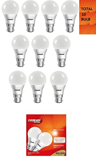 8W B22D LED Bulb (Cool Day Light, Pack of 10)