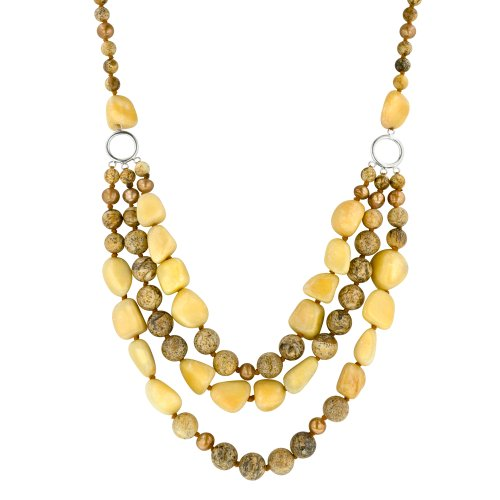 "Picture Jasper, Yellow Agate and Freshwater Cultured Pearl 3-Row Necklace, 19.5+4"" Extender"