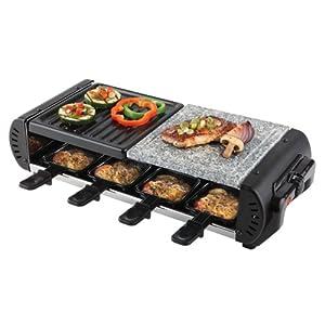 Korona Raclette-Grill 45025 / ca. 1200 Watt / für 8 Personen / Grillplatte und Natursteinplatte