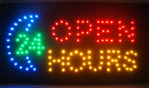 Open 24 Hours LED Light Animated Neon Sign 19*10