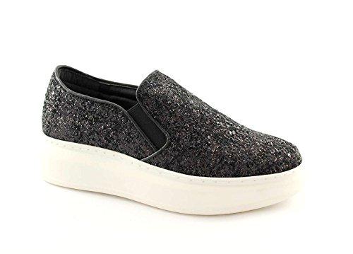 DIVINE FOLLIE 8456B nero scarpe donna sportive sneakers slip on pelle glitter 40