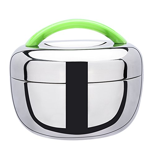 Stainless Steel Double Layer Bento Box, Food Container, Lunch Box with Green Handle (Insulated Lunch Container compare prices)