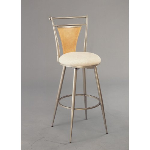 """Hillsdale London 24"""" Swivel Metal Counter Stool in Champagne"""