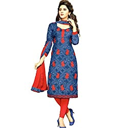 Mahati Women's Cotton Unstitched Dress Material(KIL 09-RD_Red)