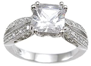 Vintage Style .925 Sterling Silver Promise Engagement Ring (Sizes 5-10) from LaRaso & Co