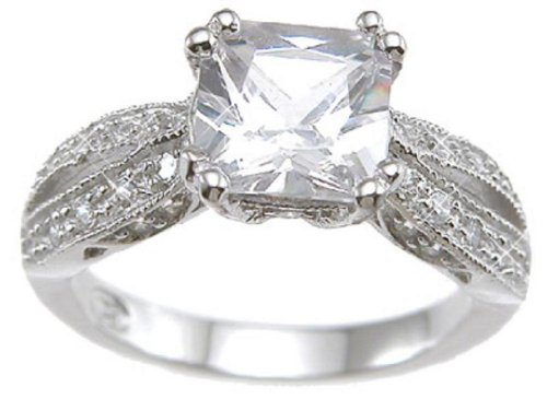 Vintage Style .925 Sterling Silver Promise Engagement Ring Size 6