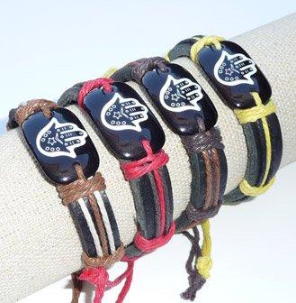 Hamsa Friendship Leather Bracelet Hand Of Fatima Judaica Evil Eye Shamballa White Brown