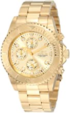 Invicta Pro Diver Unisex Quartz Watch with Beige Dial  Chronograph display on Gold Plated Bracelet 1774