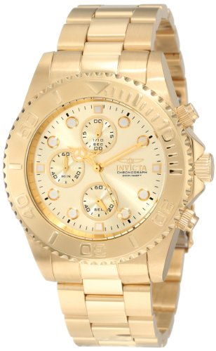 Invicta 200m Pro Diver Collection Chronograph 18k Gold Plated Watch