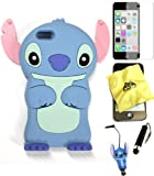 Bukit Cell ® 3D Disney Case Bundle - 5 items: BLUE 3D Cute Stitch Soft Silicone Case Cover for IPHONE 5C + BUKIT CELL Trademark Lint Cleaning Cloth + Stitch Figure Anti Dust Plug Stylus Touch Pen + Screen Protector + METALLIC Stylus Touch Pen with Anti Dust Plug