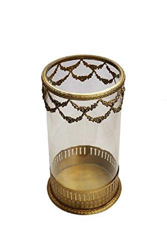 The Rose Lane Brass & Glass Hurricane Candle Holder - (25.5 X 13.5 Cms , Brass)