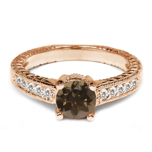 0.32 Ct Round Brown Smoky Quartz White Topaz 925 Rose Gold Plated Silver Ring