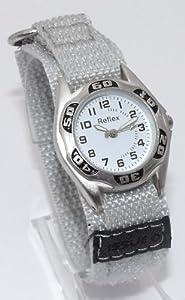 Reflex - Reloj infantil con correa de velcro, diseño de camuflaje de color blanco, con estuche