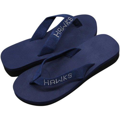 Atlanta Hawks Ladies Bling Wedge Flip Flops - Navy Blue