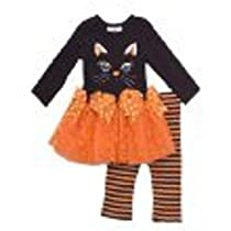 Infant or Girls Halloween Outfit - Black - Orange Cat Tutu Tunic Set 3 months