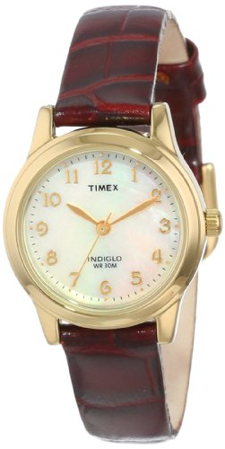 Timex Women'S T21693 Elevated Classics Dress Burgundy Leather Strap Watch front-498041