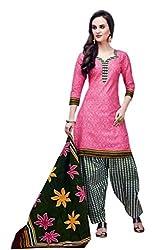 Rajlaxmi Woman's Cotton Unstiched Dress Material Multi Coloured Pink & Black+white