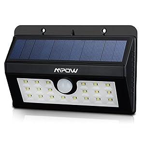 20 LED Luces Solares de Pared, Mpow Foco Solar Exterior Impermeable con Sensor de Movimiento,Sensor-Detector Activado Lámpara Exterior para Jardín Patio Camino de Entrada Escaleras,Iluminación de exterior y Iluminación de seguridad.