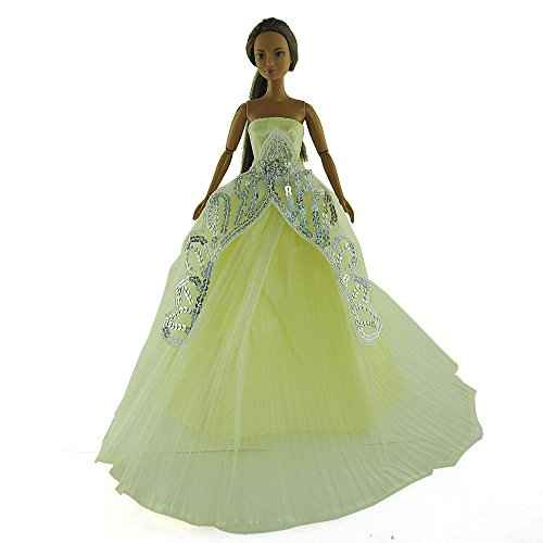 co2CREA(TM) Brand New Beige Fashion Gown Clothes Dresses Mini Cute Outfit for 29cm Barbie Doll (11 1/2 inch scale 1:6) (Great Xmas gift for kids) - 1